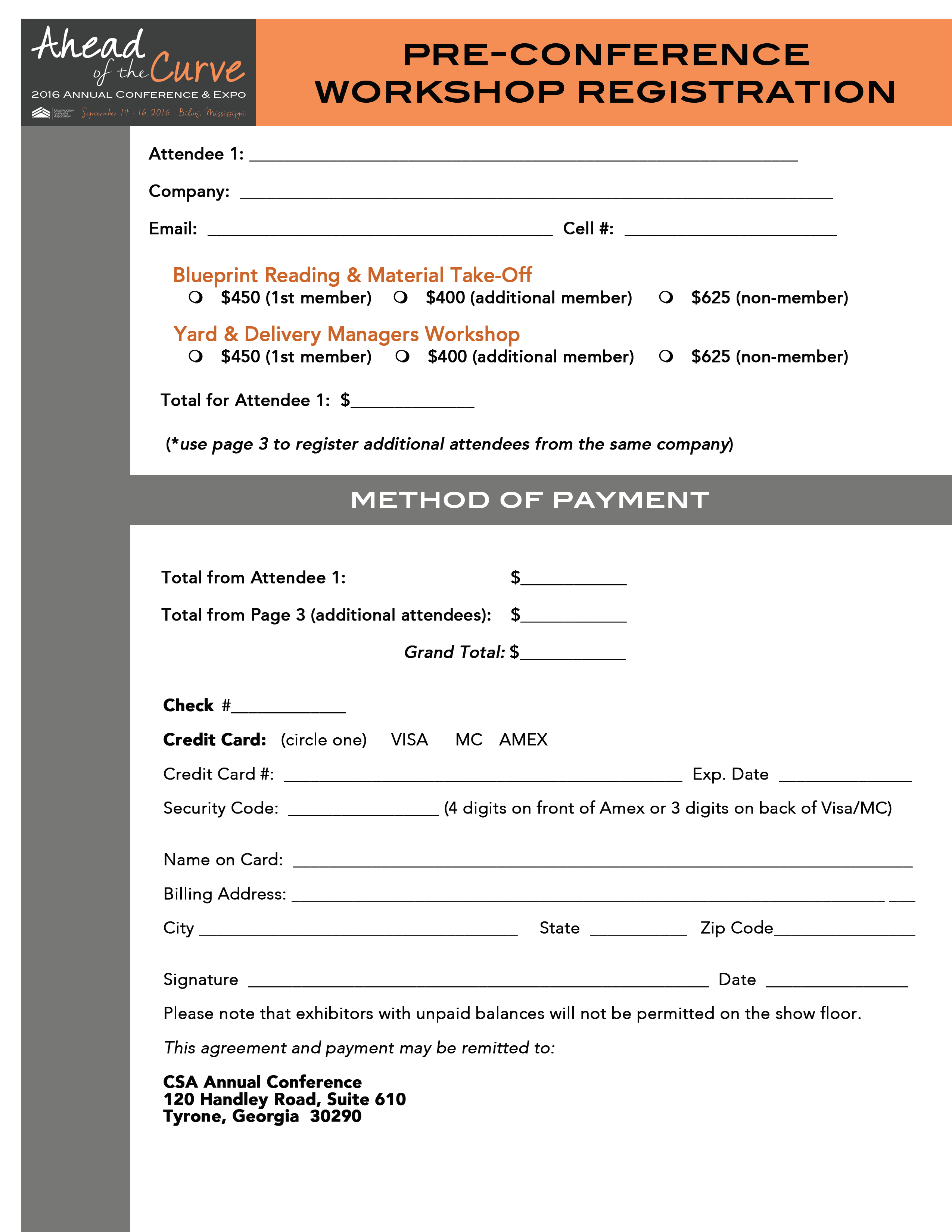Pre conference registration form page two of form malvernweather Image collections